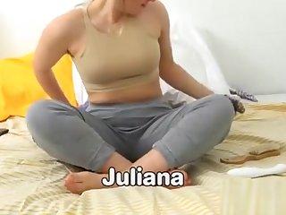 Blonde girl masturbates and squirts