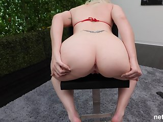 Pale amateur blonde Brittney missionary fucked on the casting couch