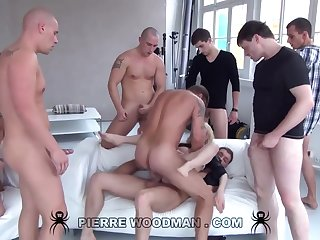 Youthfull Russian Wanton Gets Group-Fucked By Eight Wild Pervs