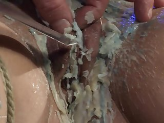 Redhead babe loves getting tied up and her pussy abused hard