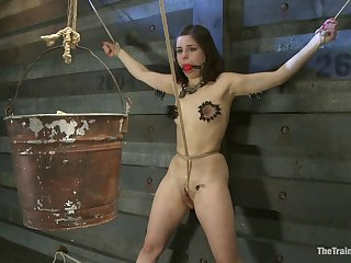 Sub girl tied in crotch rope bondage and tortured with clothespins