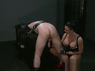 BDSM XXX Mistress Jasmine gives silent sub a hard beating before orgasm