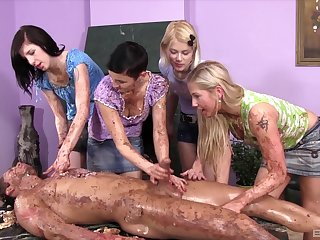 Messy group porn with the young girls avid for the guy's dick