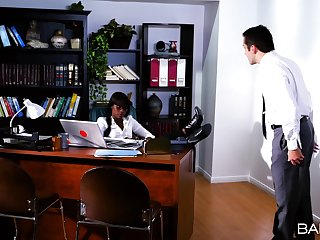 Ebony boss lady Ana Foxxx spreads her long legs for a big white shaft