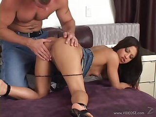 Brunette with small tits moaning while being hammered cowgirl style
