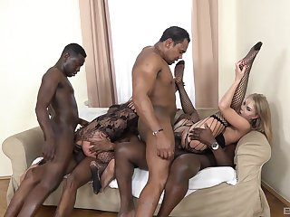 Bitches load their tight pussies with the biggest black dicks
