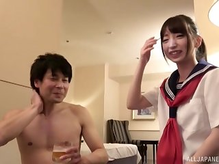 Fuyue Kotone in uniform bends over to be fucked deep from behind