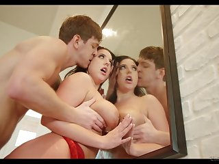 Seductive brunette in sexy red lingerie Angela White is fucked by new lover