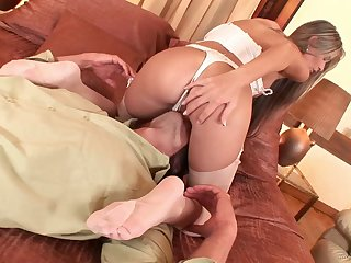 Curvy bimbo in a thong getting her pussy licked then banged hardcore