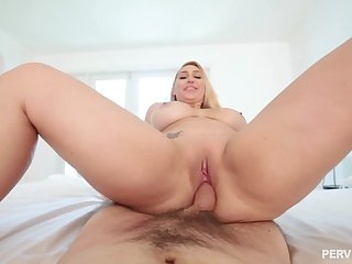 Great dicking up her pink cherry for big booty Nina Kayy