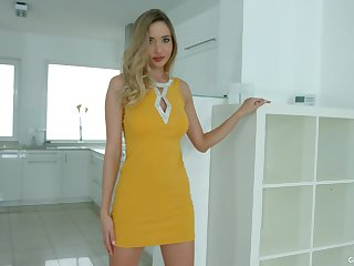 Sizzling blonde Polina Maxima is playing with favorite dildo fellow
