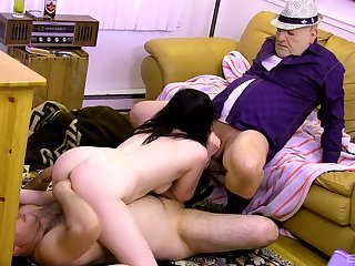 Teen slut suits boyfriend and his dad with the right trio