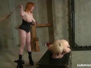 Redhead Mistress Irony tied up and tortured her slave girl Ava