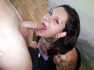 This inked minx is the queen of filth and she loves giving head on camera