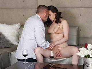 Condom sex satiates seductive brunette siren Casey Calvert