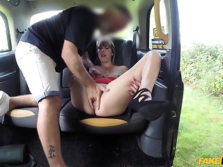 Sexy ass babe with small tits, back seat anal romance