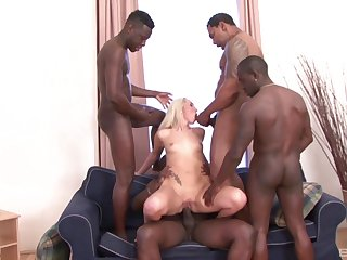 Interracial triple penetration group sex with slutty Jenny Simons